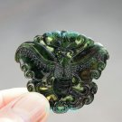 Hand-carved natural dark green jade butterfly. Necklace pendant. 40x45x5mm Beautiful girl love.