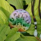 Jade, double-sided transparent sculpture, Ssangyong send (Longevity). (Amulet). Necklace pendant.