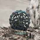 Dark green jade, hand-carved jade pendant double. Plum, bamboo magpie, 52x4mm
