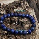Natural lapis lazuli, a blue bead bracelet gold sand. Rubber band strung 8 mm 22