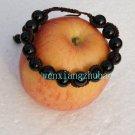 Natural Black Agate, 14, single bead diameter of 10 mm. Handmade snake bracelet.
