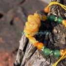 Yellow jade, 12 color Ock, hand-carved brave. Pure hand-woven bracelet. Size adjustable