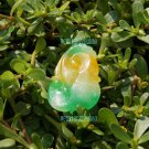 Double-sided hand-carved, yellow, green, Baicui Yu, fortune wishful pendant necklace; 35 x23x15mm