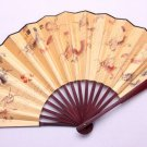 Folding, orange silk fan, a variety of patterns. It offers merchandise, collectibles