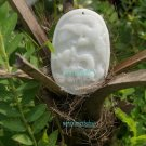 Natural white jade amulet pendant, handmade. (while).. necklace