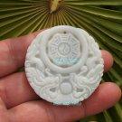 Handmade. Erlongxizhu white jade amulet, Tai Chi Bagua map, necklaces, pendants
