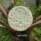 Handmade. Pale green jade amulet Erlongxizhu, Tai Chi Bagua map, necklaces, pendants