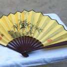 Folding fan, silk fan, hand-written quiet Zhiyuan. BAMBOO. Hand painting bamboo pattern.