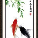 Carp , ( strive for ) cross-stitch finished painting the living room 90 X 55CM