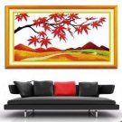 Red maple (golden Feng Jing) cross-stitch finished painting the living room 53x23cm