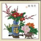 Flower vase ( blessing the home ) cross-stitch finished painting the living room 43x43cm