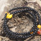 Tibetan Buddhist prayer necklace. Natural obsidian 6 mm 90 +5 beads, meditation, yoga beads.