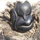 Natural obsidian pendant hand-carved. (Fox) .. lucky necklace pendant 33 x34x13mm