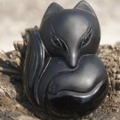 Natural obsidian pendant hand-carved. Large (Fox) .. lucky necklace pendant 50x36x15mm
