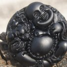 Natural obsidian pendant hand-carved. (Buddha play brave) .. lucky necklace pendant 47x15mm