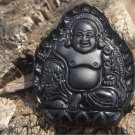 Obsidian Buddha lotus throne , natural hand-carved necklaces, pendants 53x42 x15mm