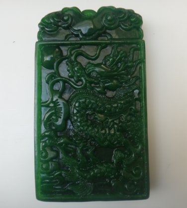 Manual sculpture Natural green jade while Rectangular necklace pendant