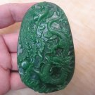 Natural green jade Hand carved While talisman necklace pendant (oval)