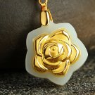 Gold inlaid jade peony blooming flowers necklaces and pendants