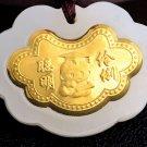 Gold inlaid jade ChangMingSuo charm necklace pendant (smart)