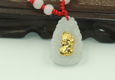 Gold inlaid jade lucky the mythical wild animal (eight party up chunks) necklace and pendant