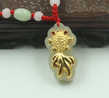 Gold inlaid jade goldfish year after year (more than) necklace and pendant