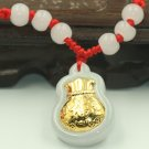 Gold inlaid jade bag (blessing) necklace and pendant