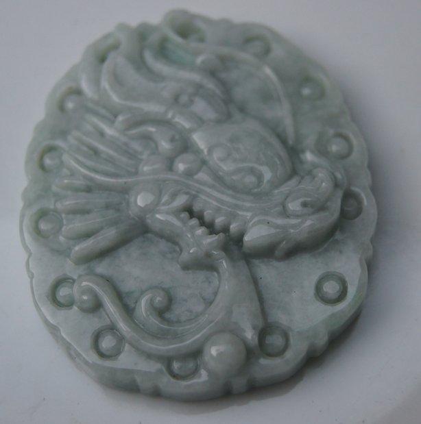 Natural jade phoenix (oval). Auspicious necklace pendant.