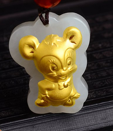 Gold inlaid jade amulet zodiac necklace and pendant (rat)