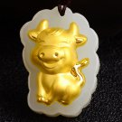 Gold inlaid jade amulet zodiac necklace and pendant (cartoon cow)