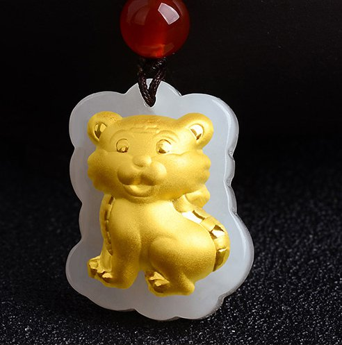 Gold inlaid jade amulet zodiac necklace and pendant (cartoon tiger)