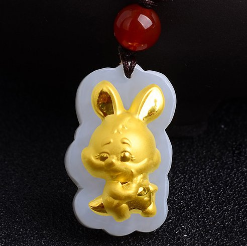 Gold inlaid jade talismans (cartoon) rabbit Chinese zodiac necklaces and pendants