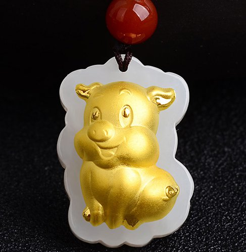 Gold inlaid jade amulet constellation (cartoon pig) lucky necklace and pendant