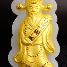 Gold inlaid jade lucky pendant The god of wealth (money star shining). Necklace pendant.