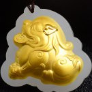 Gold inlaid jade lucky pendant lucky the mythical wild animal (charm). Necklace pendant.