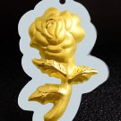 Gold inlaid jade lucky pendant (talisman) rose. Necklace pendant.