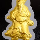 Gold inlaid jade guan gong (the god of wealth). Talisman necklace pendant.