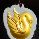 Gold inlaid jade swan (birds). Talisman necklace pendant.