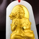 Lucky gold inlaid jade pendant trend to bodhisattva (charm). Necklace pendant.