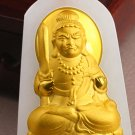 Lucky gold inlaid jade pendant Ming king bodhisattva (charm). Necklace pendant.