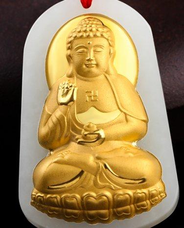 Lucky gold inlaid jade pendant amitabha Buddha (charm). Necklace pendant.