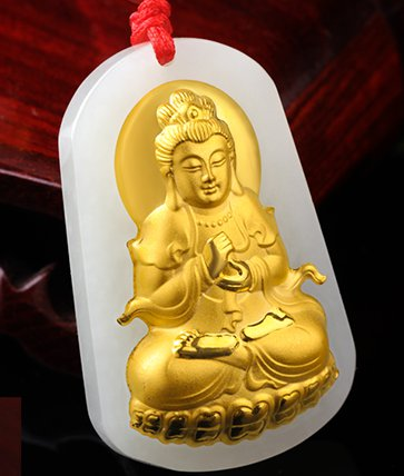 Great day gold inlaid jade pendant is tathagata (charm). Charm necklace pendant.