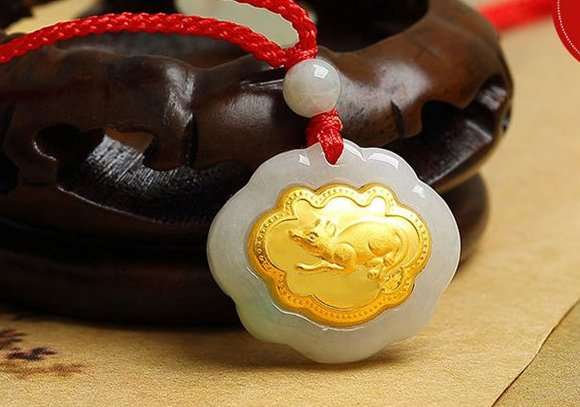 Gold inlaid jade (talisman) ChangMingSuo necklace pendant (mouse)