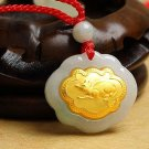 Gold inlaid jade (talisman) ChangMingSuo necklace pendant (mouse)