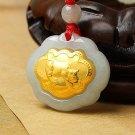 Gold inlaid jade (talisman) ChangMingSuo (cows) necklace pendant