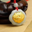Gold inlaid jade (talisman) ChangMingSuo necklace pendant (tiger)