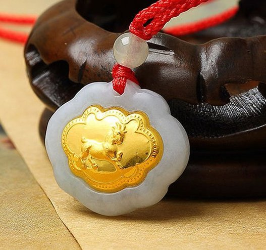 Gold inlaid jade (talisman) ChangMingSuo zodiac necklace pendant (sheep)