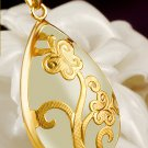 Gold inlaid jade white bee flower type (water) charm necklace pendant (blooming flowers)