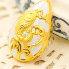 Gold inlaid jade white water droplets (talisman) koi fish necklace pendant (more) every year