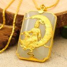 Gold inlaid jade white rectangle moonlight goddess of mercy (talisman) necklace pendant